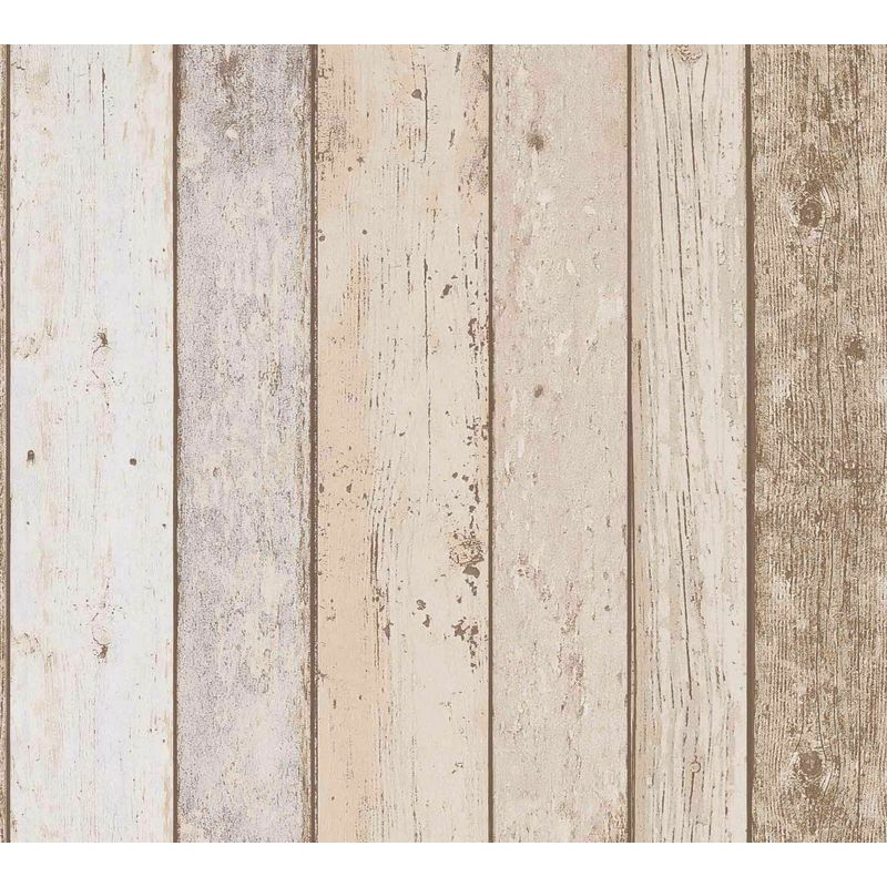 Image of 3D Effect Wood Panel Plank Wallpaper Distressed Cream Brown Beige - A.s Creation