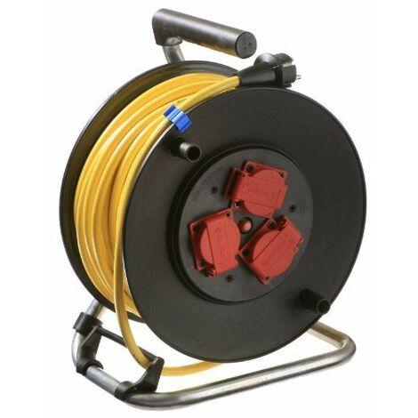 as-Schwabe 10137 Enrouleur de câble électrique Extérieur / IP44 Câble jaune 40m K35 AT-N07V3V3-F 3G1,5 285 mm Import Allemagne