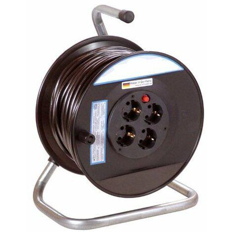 as-Schwabe - 11101 - Enrouleur de câble électrique - Intérieur / IP20 - Câble noir 50m H05VV-F 3G1,5 - 285 mm Import Allemagne