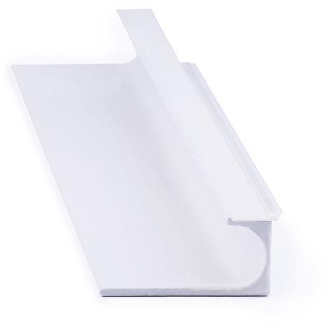 Asa de estilo moderno, fabricada en aluminio, con acabado blanco y 247 mm de distancia entre puntos.