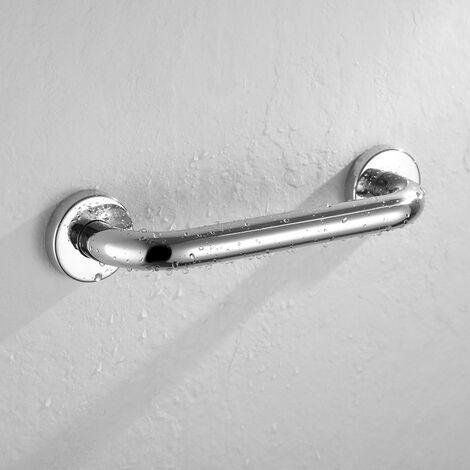 Asa de seguridad lisa 40cm de acero inoxidable 304 con acabado en cromo brillo y 6 puntos de anclaje, tacos y tornillos incluidos Kibath