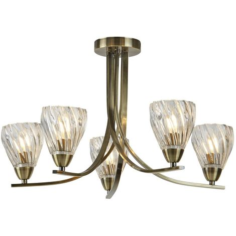 ASCONA II - 5 LIGHT CEILING SEMI FLUSH, ANTIQUE BRASS TWIST FRAME, CLEAR TWISTED GLASS SHADES
