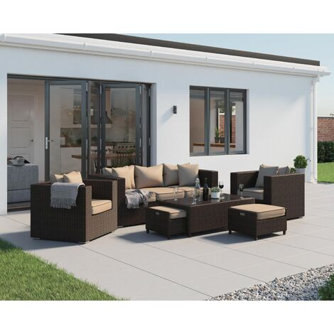 Ascot 3 Seater Rattan Garden Sofa Set (various colours)