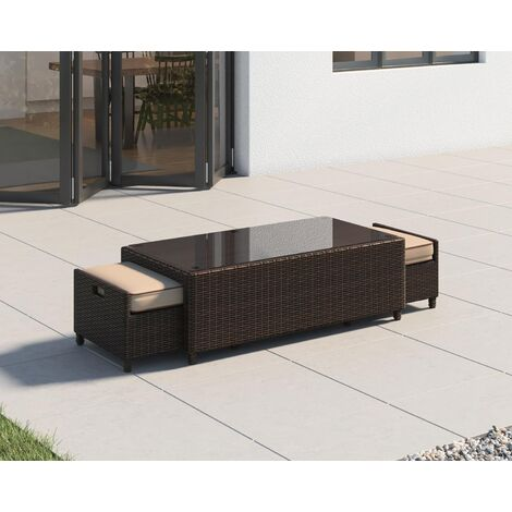 Ascot Rattan Garden Coffee Table with 2 Footstools (various colours)