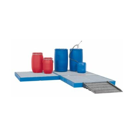 Asecos Kunststoff-Flachwanne - mit verzinktem Gitterrost, Auffangvolumen 125