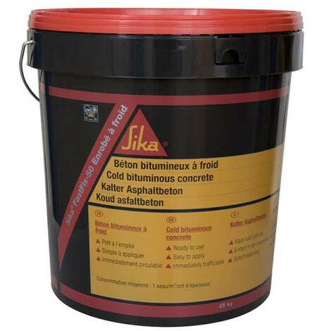 Asfalto de mezcla en frío SIKA FastFix-50 - Para el mantenimiento rutinario - 25 Kg - Noir