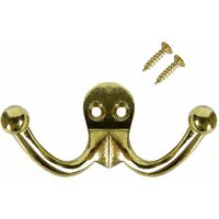 Ashley - Robe Hanger - Double Clothes or Hat Hook - Brass Plated - Large