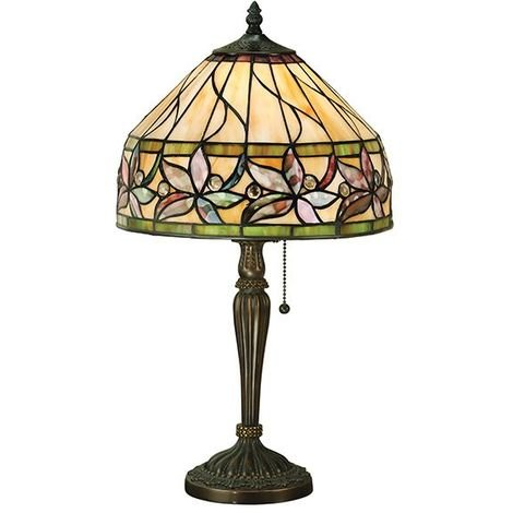 Ashtead Small Tiffany Style Table Lamp And Pull Chain Switch 60W