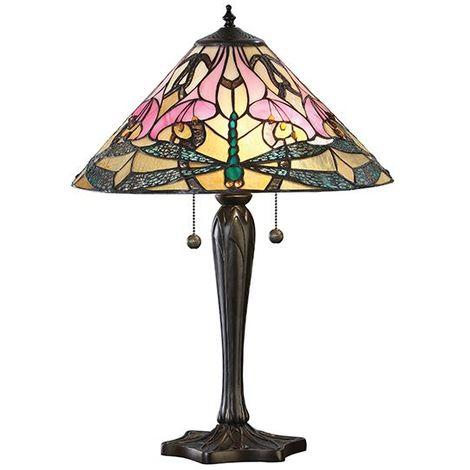 Ashton Tiffany Design Medium Table Lamp Pull Chain Switch 60W