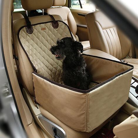 Asiento Coche Perro,Protector de Asiento de Coche,para asiento trasero de coche para Mascotas y Viajes 45x50x58cm champán