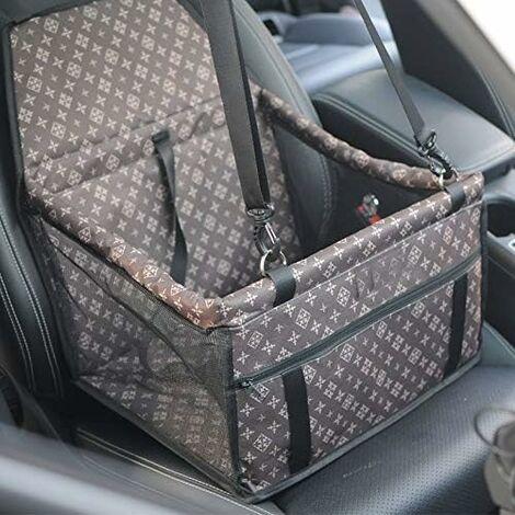 Asiento de coche para perros LITZEE, asiento de coche plegable impermeable para perros con cinturón de seguridad y bolsa de almacenamiento, asiento elevador de coche para perros o gatos (marrón clásico)