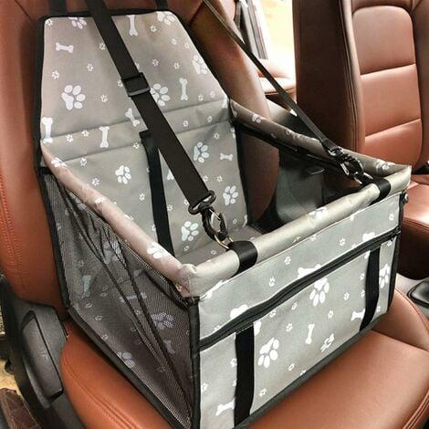 Asiento de coche para perros LITZEE, asiento de perro plegable impermeable con cinturón de seguridad y bolsa de almacenamiento, asiento elevador de coche para perros o gatos (hueso gris)