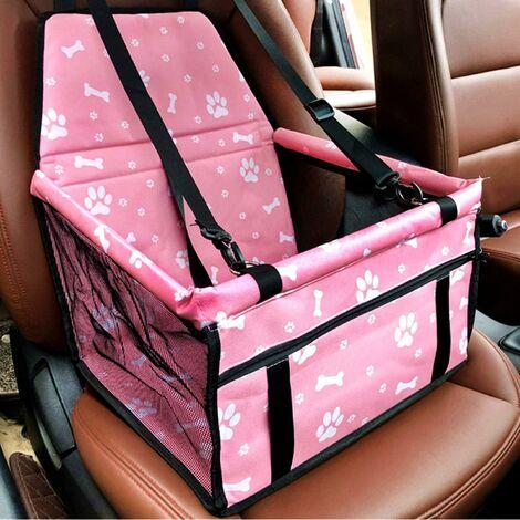 Asiento de coche para perros LITZEE, asiento para perros plegable impermeable con cinturón de seguridad y bolsa de almacenamiento, asiento elevador de coche para perros o gatos (hueso rosa)