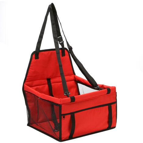 Asiento de coche perro Booster mascotas carrito de asiento con cinturon perro Gatos del perro del recorrido del asiento protector para el asiento trasero para pequenas y medianas mascotas, rojo, L