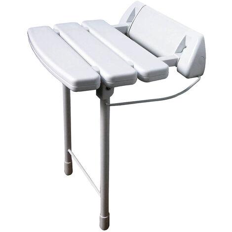 Asiento de ducha abatible con patas plegables y estructura de acero inoxidable. Asiento fabricado en ABS lacado blanco máxima densidad. Para personas de movilidad reducida. Repuestos garantizados Kibath
