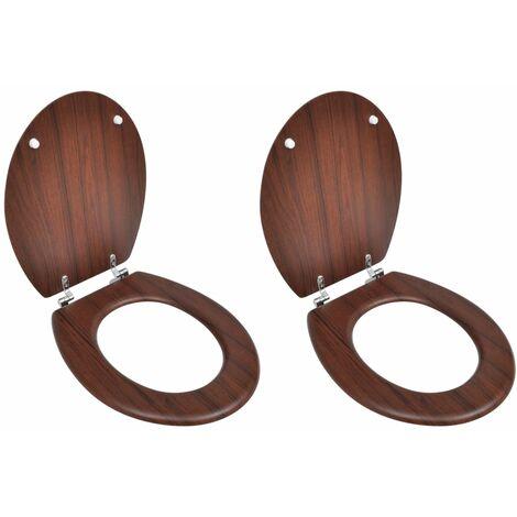Asiento de inodoro con tapas de cierre duro 2 uds MDF marrón