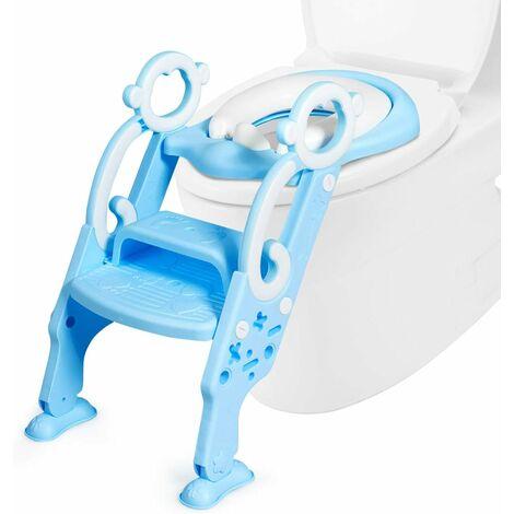 Asiento de Inodoro Para Niños Altura Ajustable Asiento con Escalera y Manija Plegable Inodoro Entrenamiento para Niños de 1 a 8 Años (Azul)