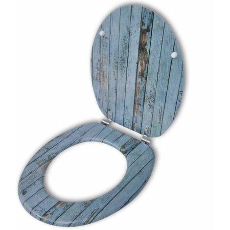 Asiento de inodoro WC con tapa de MDF diseno de madera vieja