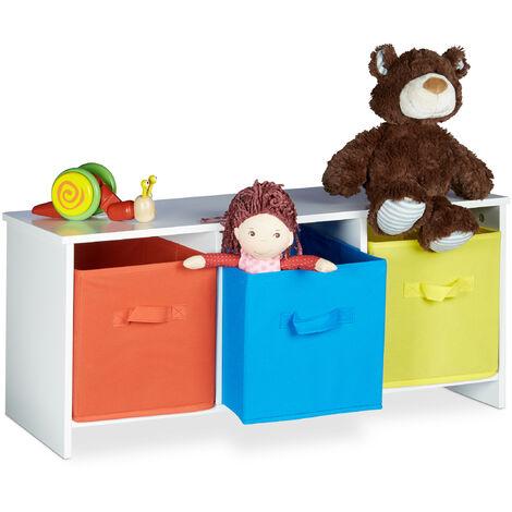 Asiento infantil ALBUS con cajas de almacenaje, Cestas de colores, Baúl para juguetes, 35,5 x 81 x 29 cm