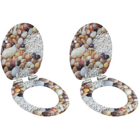 Asiento inodoro WC 2 uds tapa cierre suave MDF diseño piedras