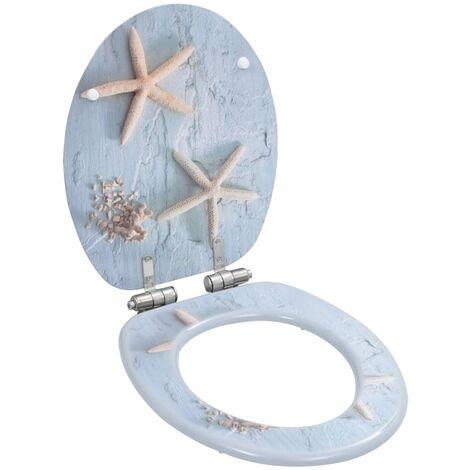 Asiento inodoro WC con tapa de cierre suave MDF estrella de mar