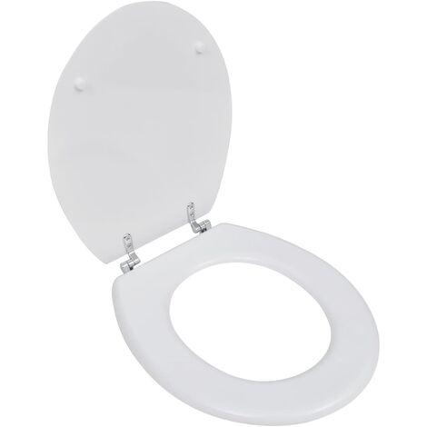 Asiento inodoro WC MDF tapa de cierre fuerte diseño blanco