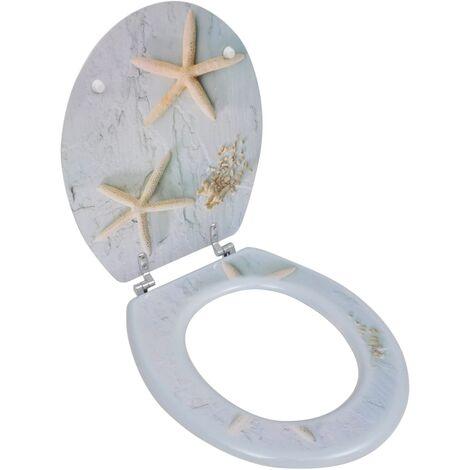 Asiento inodoro WC MDF tapa de estrellas de mar