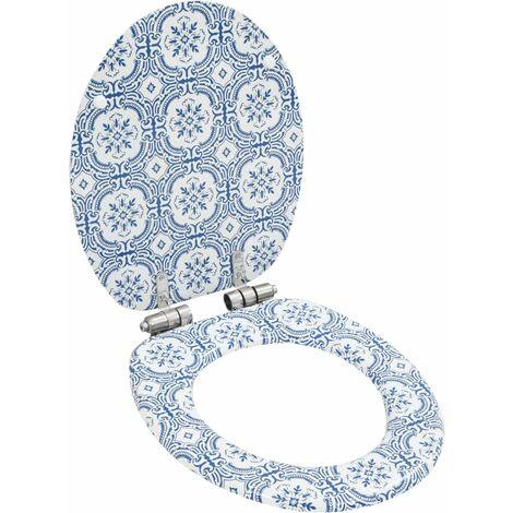 Asiento inodoro WC tapa de cierre suave MDF diseño porcelana