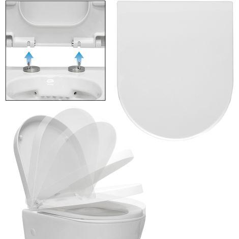 Asiento tapa inodoro WC blanco desmontable softclose incluye material montaje