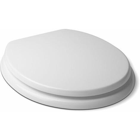 Asiento WC TATAY en MDF, material resistente y sólido de superficie suave. Blanco brillante.