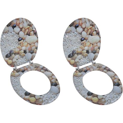 Asientos de inodoro con tapas cierre fuerte 2 uds MDF piedras
