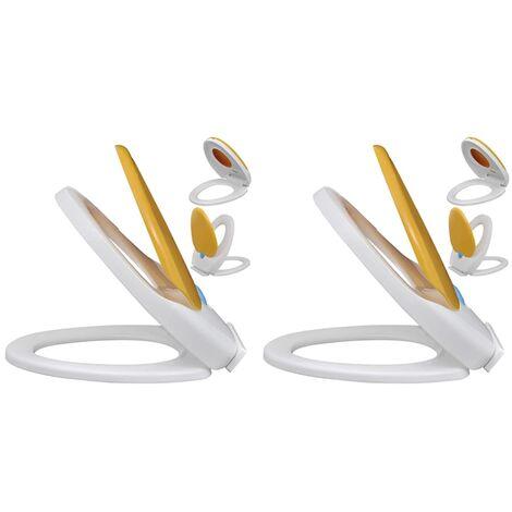 Asientos inodoro cierre suave 2 uds plástico blanco y amarillo