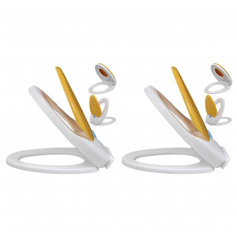 Asientos inodoro cierre suave 2 uds plastico blanco y amarillo
