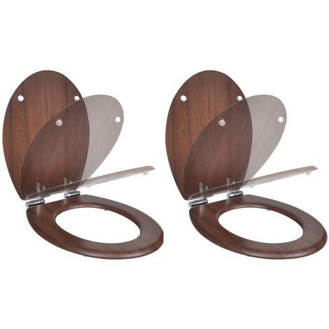 Asientos inodoro con tapas de cierre suave 2 uds MDF marrón