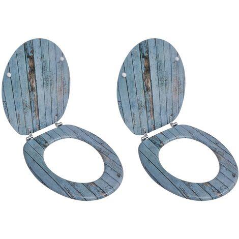 Asientos inodoro tapas de cierre fuerte 2 uds MDF madera vieja