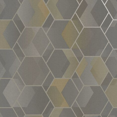Asik Geometric Wallpaper Holden Grey Yellow Metallic Modern Contemporary