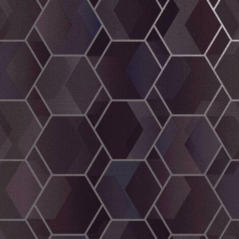 Asik Geometric Wallpaper Holden Purple Silver Metallic Modern Contemporary