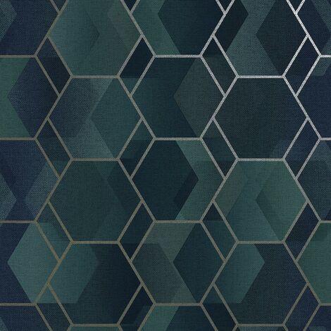 Asik Geometric Wallpaper Holden Teal Gilver Metallic Modern Contemporary