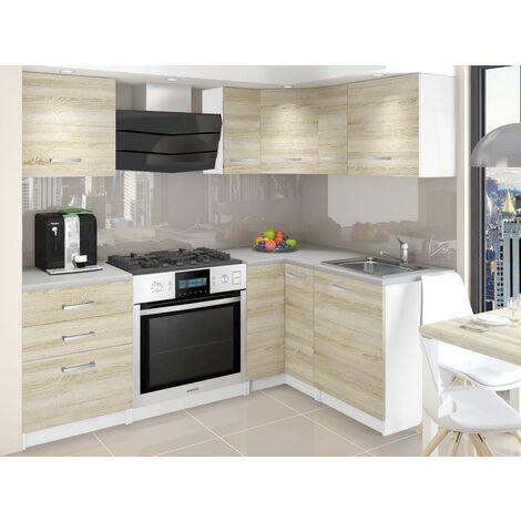 ASKETT   Cuisine Complète d'angle + Modulaire L 300 cm 8 pcs   Plan de travail INCLUS   Ensemble armoires modernes de cuisine   Sonoma