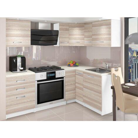 ASKETT | Cuisine Complète d'angle + Modulaire L 300 cm 8pcs | Plan de travail INCLUS | Ensemble armoires modernes cuisine | Acacia - Acacia