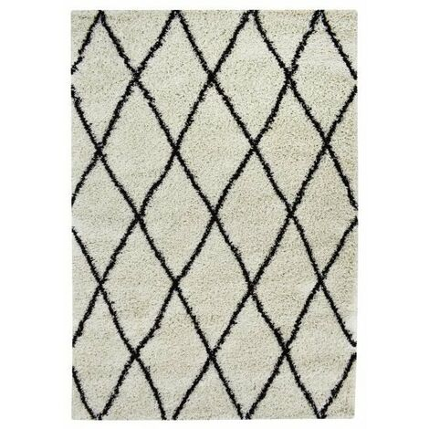 ASMA Tapis de salon Shaggy - Style berbere - 100 x 150 cm - Creme et marron - Motif géométrique
