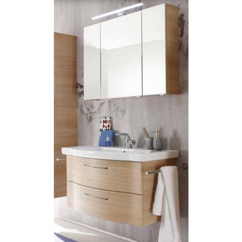 ASolitaire 6005 Pelipal Badmöbel Set, 97cm Waschtisch Waschtischunterschrank Spiegelschrank
