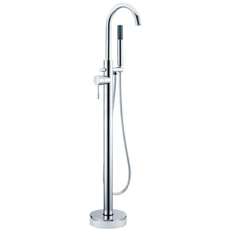 Aspen Chrome Floor Mounted Bath Shower Mixer & Shower Kit