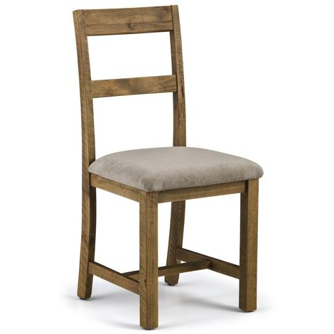 Aspen Dining Chair Comfortable Mink Chenille Rustic Solid Pine