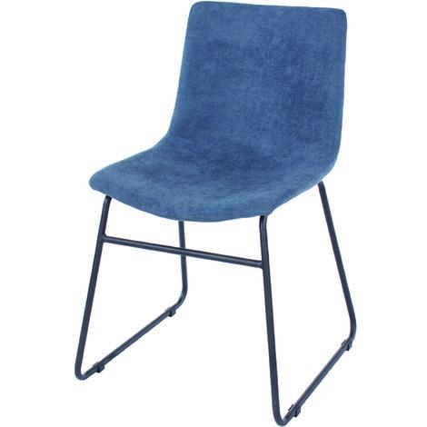 Aspen Pair Dining Chair, Blue Fabric with Black Metal Legs