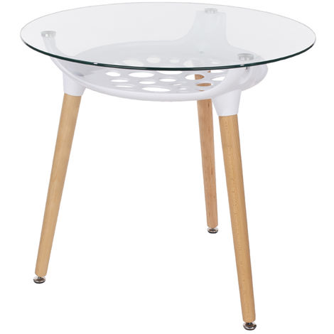 Aspen Round Clear Glass Top Table With White Plastic Underframe & Wooden Legs