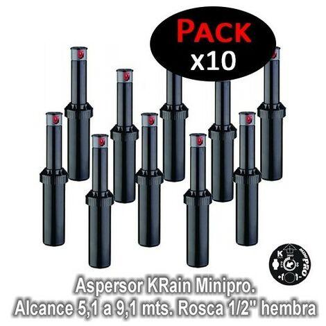 "Aspersor KRain Minipro. Alcance 5,1 a 9,1 mts. Rosca 1/2"" hembra (Pack de 10 unidades)"