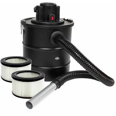 Aspirador de ceniza 1200W, tubo de aspiración de metal + filtro + 2 filtros de repuesto - aspirador de cenizas, aspirador, aspiradora - negro