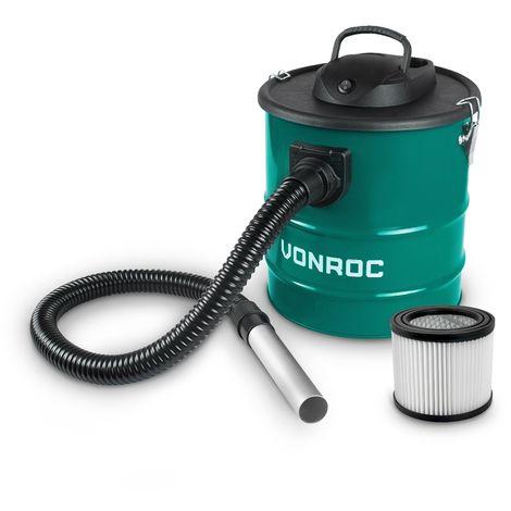 Aspirador de cenizas VONROC 1600W - Tanque de 20L - Cable de alimentación de 3m - Para chimenea, barbacoa y taller