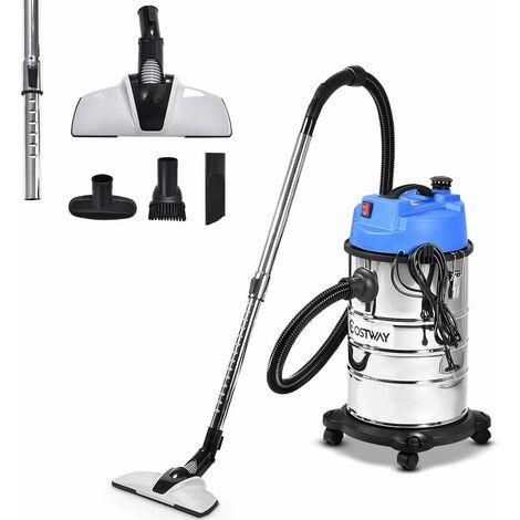 Aspirador seco-húmedo con Accesorios 1400W 30L Industrial Aspirador Multiusos Acero Inoxidable con Ruedas